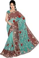 Khazana Bazar Floral Print Embroidered Embellished Net Sari