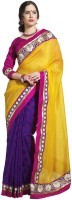 Blue Woman Solid Chanderi Sari