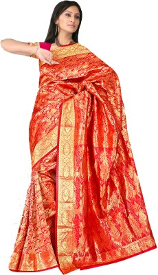 Fashion MGS Printed Fashion Silk Sari (Red)