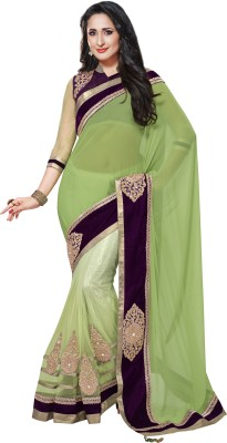Moh Manthan Moh Manthan Self Design Fashion Chiffon, Net Sari (Multicolor)