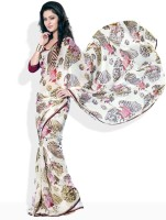 Seymore Geometric Print, Floral Print Synthetic Sari