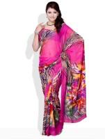 Satrang Solid Synthetic Sari