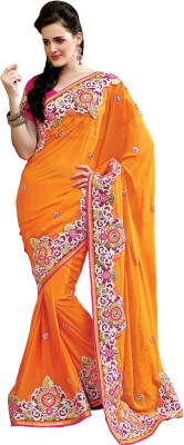 Morli Morli Self Design Fashion Georgette Sari (Orange)