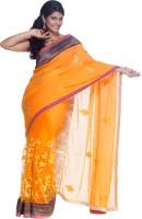 Cbazaar Floral Print Embroidered Embellished Georgette, Net Sari