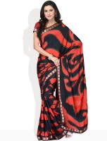 Vichitra Graphic Print Synthetic Sari