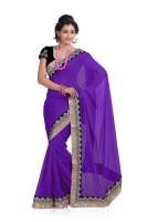 Chirag Sarees Solid Embroidered Embellished Chiffon Sari