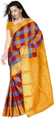 Triveni Checkered Fashion Art Silk Sari