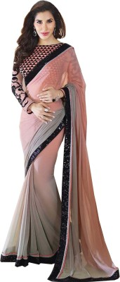 Nj Fabric Self Design Bollywood Chiffon Sari (Grey)