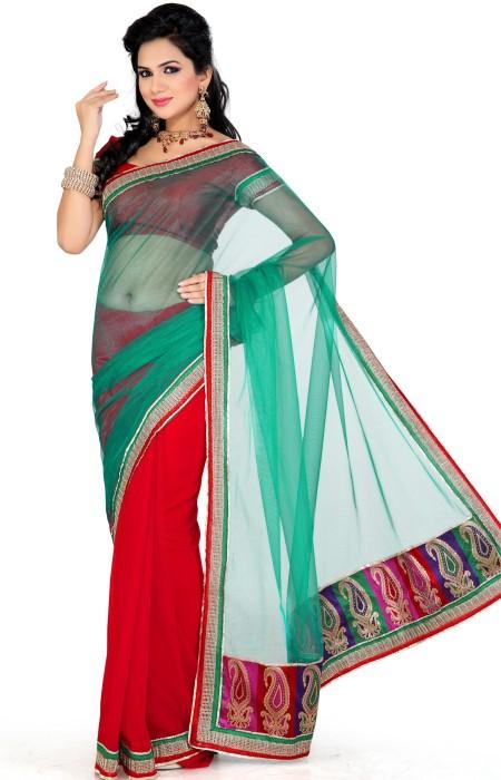 Saree swarg designer printed embellished chiffon sari for Sari furniture designer