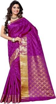 Alankrita Self Design, Woven Kanjivaram Silk, Art Silk, Jacquard, Brasso Sari Purple