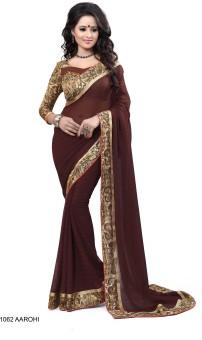 Sarees House Self Design, Solid, Printed Bollywood Pure Chiffon Sari Brown