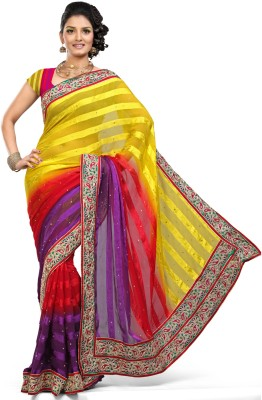 Saree Swarg Striped Embroidered Embellished Satin Sari