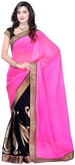 Sareeka Sarees Plain, Embriodered Bollywood Georgette Sari