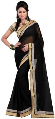 Fabuloue Solid Fashion Chiffon Sari (Black)