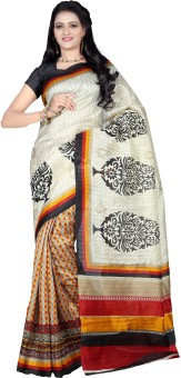 Fugen Applique, Striped, Printed Bollywood Art Silk Sari