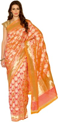 Rangoli Rangoli Self Design Fashion Net Sari (Orange)