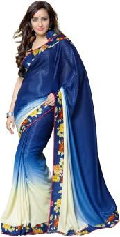Nanda Silk Mills Printed Fashion Crepe, Jacquard Sari