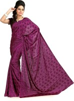 Designersareez Floral Print Silk, Crepe, Jacquard Sari