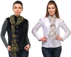 Kiosha Printed, Polka Print Cotton Blend Women's Scarf