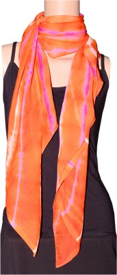 Saree Sparkle Saree Sparkle Printed Chiffon Girl's Scarf (Orange)