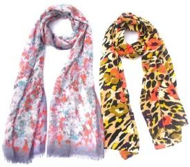 Lotusa Floral Print Cotton,poly Women's Scarf