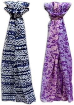 URBAN-TRENDZ Printed Polyester - Printed Scarfs ( Set Of 2pcs) Women's Scarf