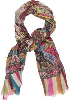 Amaryllis Graphic Print, Geometric Print, Floral Print, Polka Print 90% Wool, 10% Silk Women's Scarf