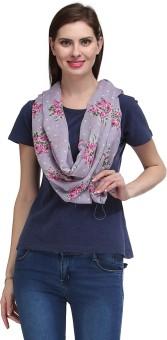 Kiosha Polka Print, Floral Print Cotton Blend Women's Scarf