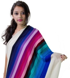 Stole & Yarn Striped Acro Wool (Acrylic + Wool) Women's Stole