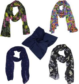 Weavers Villa Floral Print Premium Soft Summer Vibrant Trendy Women's Scarf
