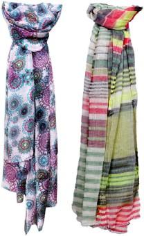 IndiStar Printed Fabric- Silk, Cotton Women's Scarf