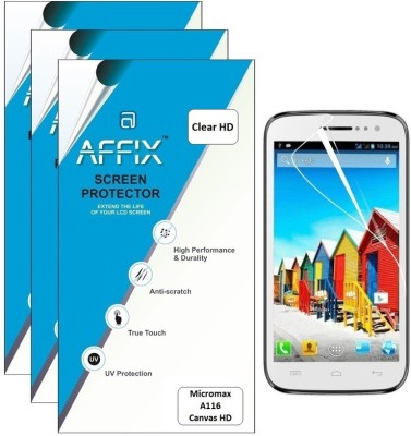 Affix P3HD070 Pack of 3 Clear HD Screen Guard for Micromax A116 Canvas HD available at Flipkart for Rs.279