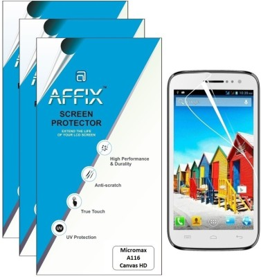 Affix P3CL070 Pack of 3 Clear Screen Guard for Micromax A116 Canvas HD available at Flipkart for Rs.279