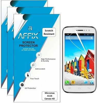 Affix P3SR070 Pack of 3 Scratch Resistant Screen Guard for Micromax A116 Canvas HD available at Flipkart for Rs.279