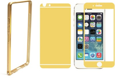 PIKBAY Combo Of Gold Bumper Case And Gold Front and Back Tempered Glass for Apple Iphone 4G/4S
