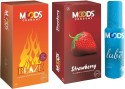 Moods Blaze & Strawberry Combo With Lube - Pack Of 3