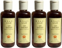 Khadi Mauri Shikakai Sat Shampoo With Bhringraj Extracts Pack Of 4 Herbal Ayurvedic Natural 210 Ml Each (840 Ml)