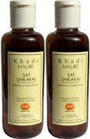 Khadi Mauri Shikakai Sat Shampoo With Bhringraj Extracts Pack Of 2 Herbal Ayurvedic Natural 210 Ml Each (420 Ml)