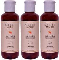 Khadi Mauri Sat Reetha Shampoo 210 Ml - Pack Of 3 - Premium Herbal Ayurveda (210 Ml)