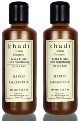 Khadi Herbal Henna & Tulsi Extra Conditioning Shampoo (SLS, Sulfate & Paraben Free) (420 Ml)