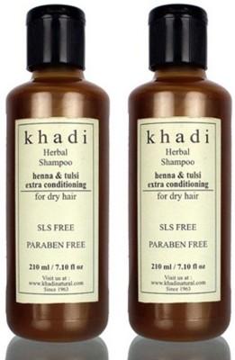 Khadi Herbal Henna & Tulsi Extra Conditioning Shampoo (SLS, Sulfate & Paraben Free) (420 Ml)