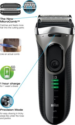 Braun Wet and Dry Series 3 3040 Shaver For Men (Black, Blue)