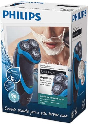 Philips AquaTouch AT756 Shaver For Men (Black, Blue)