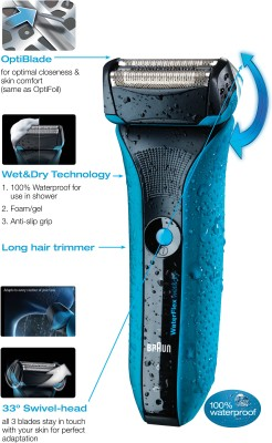 Braun Waterflex WF2S Shaver For Men (Blue, Black)