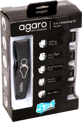 Agaro 5 in 1 Grooming kit MG5580 Trimmer For Men (Black)