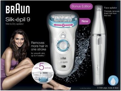 Braun Silk-epil Series 9 9558 Epilator for Women (White/Blue)