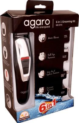 Agaro 6 in 1 Grooming kit MG6725 Trimmer For Men (White, Black)