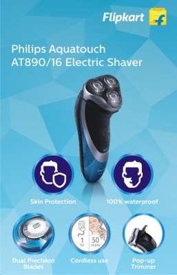 Philips AquaTouch Plus AT890/16 Shaver For Men (Black, Blue)