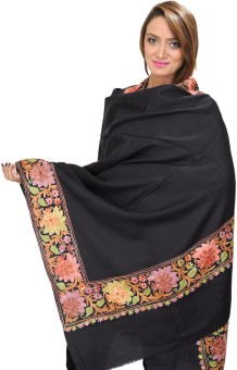 Exotic India With Ari Embroidered Flowers On Border Wool Solid Women's Shawl