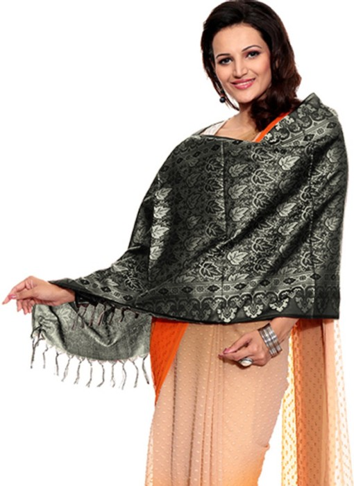 TSG Breeze Black Polyester Self Design Women's Shawl
